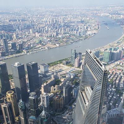 上海,新的,上海环球金融中心,黄浦江,外滩,水,天空,夜晚,无人,交通