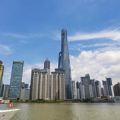 上海,上海环球金融中心,东方明珠塔,外滩,陆家嘴,浦东,天空,水平画幅,无人,东亚