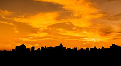 基辅,城市,乌克兰,城市生活,曙暮光,橙色,云,色彩鲜艳,著名景点,夏天