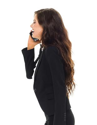 女商人,快乐,垂直画幅,半身像,电话机,套装,白人,不看镜头,仅成年人,眼镜
