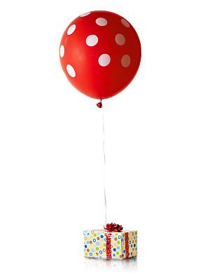 礼物,包装纸,圆点,垂直画幅,新年,气球,生日,白色,新年前夕