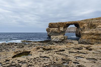 蓝窗,德维拉,自然拱,石灰石,自然,悬崖,洞,水平画幅,岩石,地质学