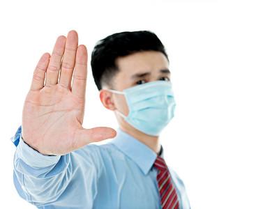 青年人,男人,亚洲,衣服,防污染口罩,感冒病毒,停止手势,外科口罩,瘟疫,面罩