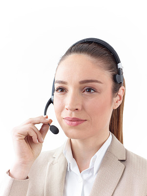 女性,呼叫中心,总机人员,免提装置,蓝牙,垂直画幅,办公室,耳麦,电话机,美人