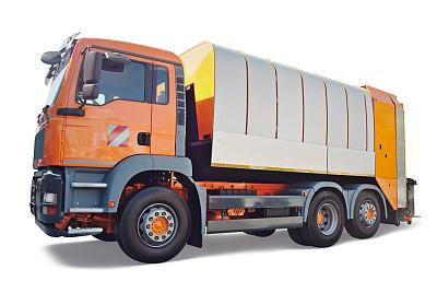 垃圾车,垃圾,车轮,水平画幅,橙色,无人,陆用车,背景分离,卡车,工业