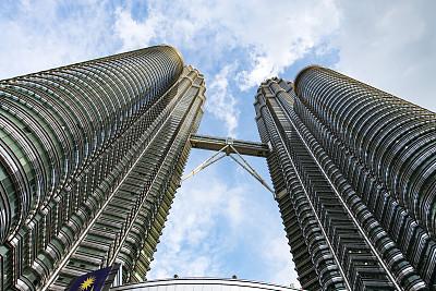 双峰塔,吉隆坡,马来西亚,建筑的故事,天空,水平画幅,无人,户外,都市风景,建筑业