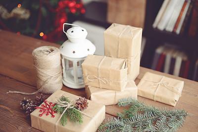 礼物,自制的,高视角,新年,古老的,古典式,乡村风格,线绳,工艺品