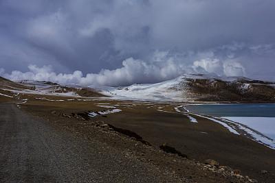 纳木错,中国,地形,山路,高原,水平画幅,极端地形,风化的,雪,无人