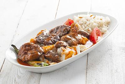 阿拉伯,烤肉串,食品,烤串,胡椒粉瓶,肉丸,古典希腊,餐具,格子烤肉,水平画幅
