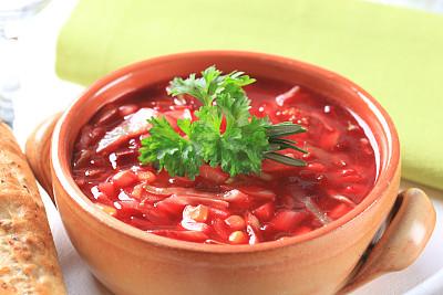 红菜汤,罗宋汤,甜菜,美,水平画幅,素食,胡椒,奶油,膳食,晚餐