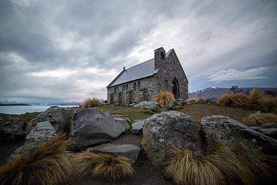 帝卡波湖,麦肯齐地区,特卡波,新西兰坎特伯雷地区,新西兰南岛,灵性,雪,石材