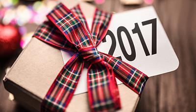 贺卡,圣诞礼物,2017年,水平画幅,木制,无人,蝴蝶结,新年,盒子