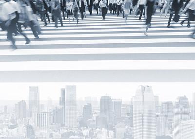 城市,高峰时间,合成图像,办公大楼,数字化显示,斑马线,人行横道,留白,水平画幅,交通