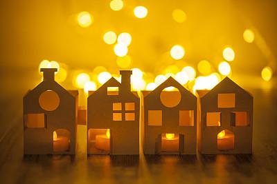 房屋,纸,圣诞小彩灯,烛光,水平画幅,建筑,无人,散焦,新年
