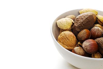 豆荚,坚果,白色,分离着色,巴西栗,美洲山核桃,饮食,水平画幅,无人,榛子