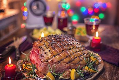 火腿,丁香,晚餐,节日,上菜,面无表情,蜜汁火腿,烤串,宴会,红葡萄酒