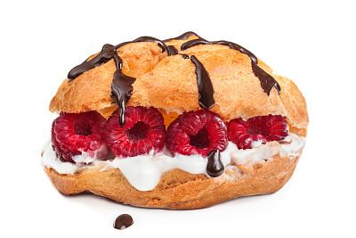 手指蛋糕,清新,覆盆子,空心饼,褐色,水平画幅,无人,奶油,烘焙糕点,膳食