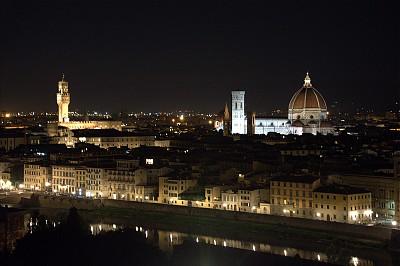 佛罗伦萨,夜晚,都市风景,意大利,米开朗基罗广场,亚诺河,美,水平画幅,无人