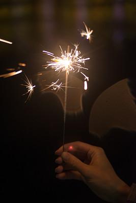 闪烁发光,2016,垂直画幅,新的,美国国庆日,夜晚,生日,明亮,放焰火,光