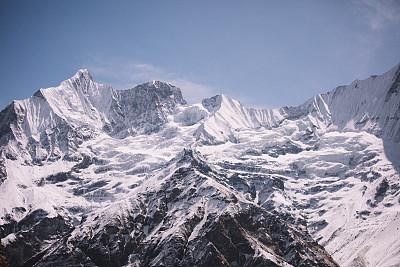 在上面,地球,喜马拉雅山脉,珠穆朗玛峰,安娜普娜山脉群峰,尼泊尔,天空,留白,水平画幅,雪