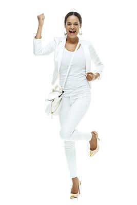 快乐,女商人,挎包,耳饰,拳头,垂直画幅,高跟鞋,非裔美国人,仅成年人,青年人