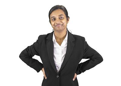 信心,女商人,两手叉腰,首席执行官,正面视角,半身像,智慧,印度人,套装,非裔美国人