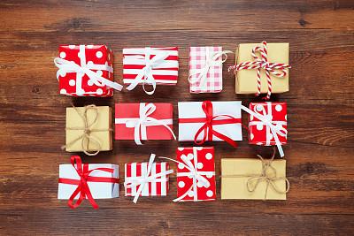圣诞礼物,裹住,有包装的,包装纸,牛皮纸,贺卡,留白,新的,新年,古老的