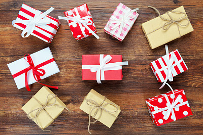 圣诞礼物,牛皮纸,贺卡,留白,新的,新年,古老的,古典式,生日,现代