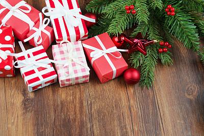 背景,圣诞礼物,包装纸,裹住,有包装的,晚会,留白,新年,古典式,生日