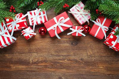 圣诞礼物,背景,有包装的,晚会,留白,新年,古典式,生日,想法,球体