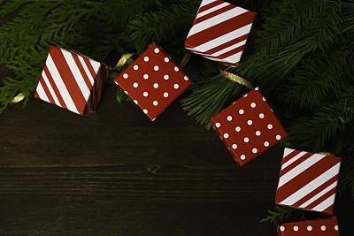 枝繁叶茂,缎带,礼物,节日,背景,黄金,柔焦,圆点,留白,边框