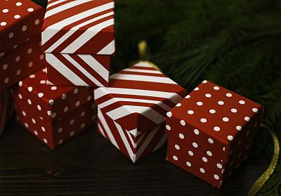 枝繁叶茂,缎带,礼物,节日,黄金,背景,柔焦,圆点,留白,边框