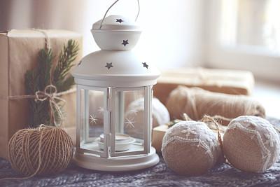 圣诞礼物,圣诞装饰,灯笼,水平画幅,无人,新年,符号,圣诞树,灯