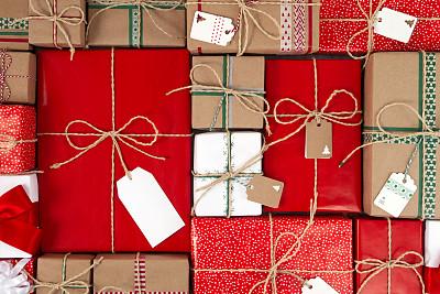 圣诞礼物,无人,标签,盒子,大量物体,堆,礼物标签,礼物,红色