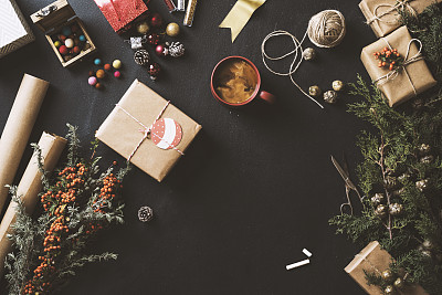 粉笔,黑板,新年前夕,平铺,概念,火棘,桌面射击,粉笔画,牛皮纸