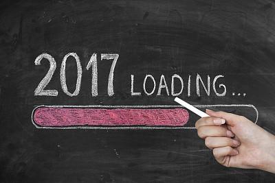 2017年,新年前夕,黑板,春节,粉笔画,电池,贺卡,留白,新的