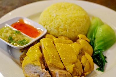 海南鸡饭,海南省,咕噜鸡,咕噜菜,鸡肉,米,葱,水平画幅,无人,膳食