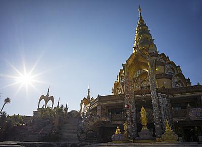 僧院,翠玉佛祖圣厅,宝塔,天空,灵性,水平画幅,早晨,旅行者,泰国