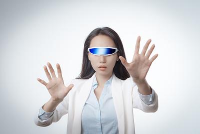 虚拟现实模拟器,智能眼镜,美,未来,水平画幅,美人,科学,套装,仅成年人,眼镜