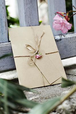 贺卡,信封,婚礼,圣诞卡,垂直画幅,留白,褐色,消息,无人