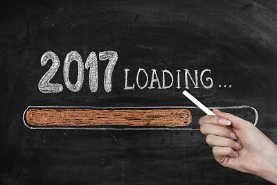 新年前夕,黑板,2017年,2016,春节,粉笔画,电池,空头支票,贺卡,留白