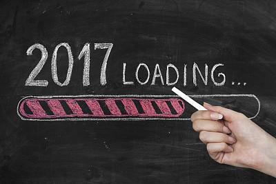 新年前夕,黑板,2017年,新的,春节,粉笔画,电池,空头支票,贺卡,留白