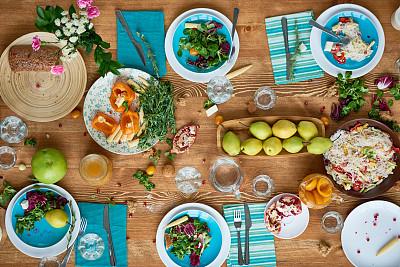 餐桌,食品,混沌,宴会,水果拼盘,咬过,石榴,水平画幅,高视角,无人