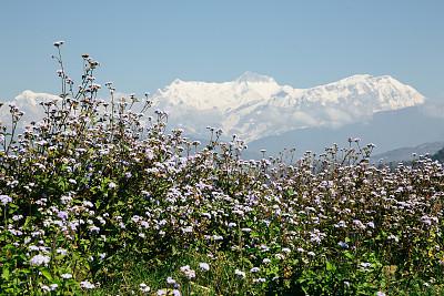 安娜普娜环线,转经筒,安娜普娜山脉群峰,喜马拉雅山脉,瀑布,无人,户外,水平画幅,亚洲