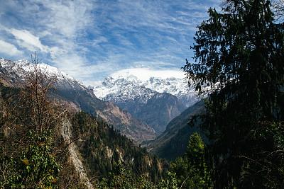 安娜普娜环线,转经筒,经幡,安娜普娜山脉群峰,尼泊尔,喜马拉雅山脉,水平画幅,瀑布,无人,户外