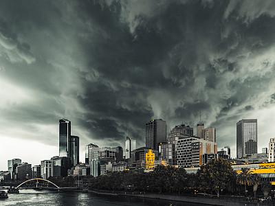 弗林德斯街站,暴風雨,夏天,城市,墨爾本,認真的,全球變暖,亞拉河,澳大利亞,烏云