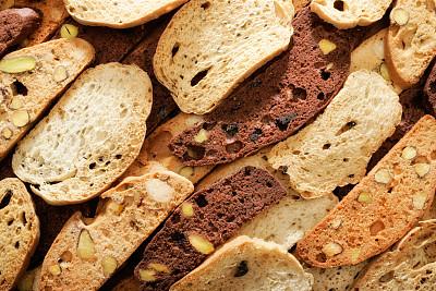 甜面包,特写,清新,黑巧克力,榛子,饼干,水平画幅,高视角,无人,烘焙糕点