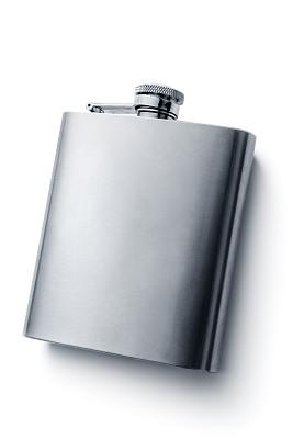 小酒壶,饮料,白色背景,分离着色,保温瓶,小罐,个人随身用品,垂直画幅,高视角,银色
