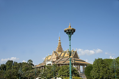 金边,柬埔寨,亭台楼阁,月亮,艺术,水平画幅,无人,屋顶,佛教,建筑特色