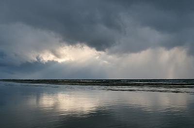 戏剧性的天空,海洋,云,在上面,阳光光束,鄂霍次克海,迷路,水,天空,留白